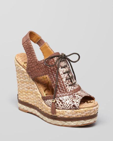 sam edelman open toe lace up wedge sandals tinley in