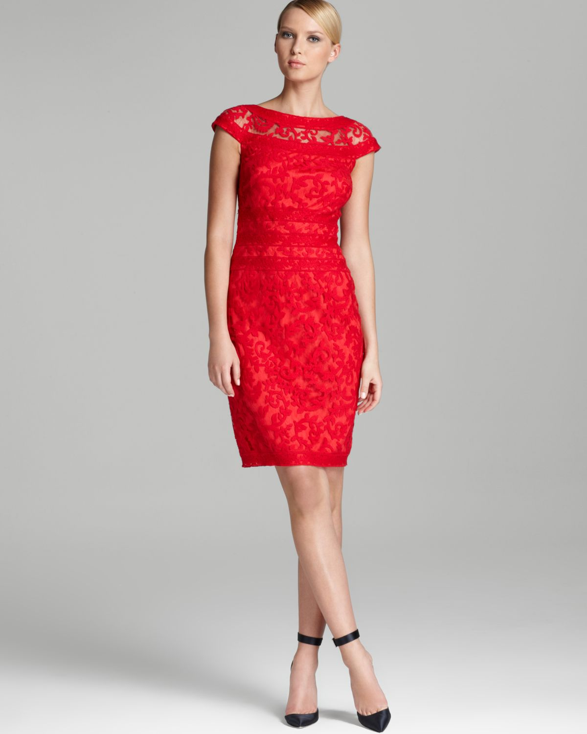 Tadashi shoji Lace Dress Cap Sleeve Illusion Neck in Red | Lyst