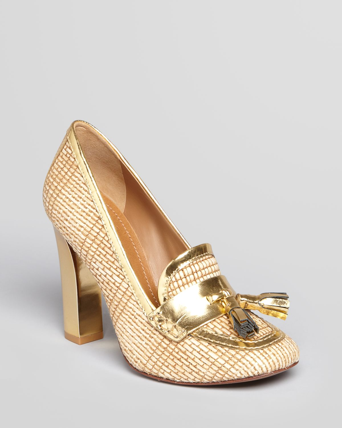 9c1f80620740 Lyst - Tory Burch Loafer Pumps Careen High Heel in Natural