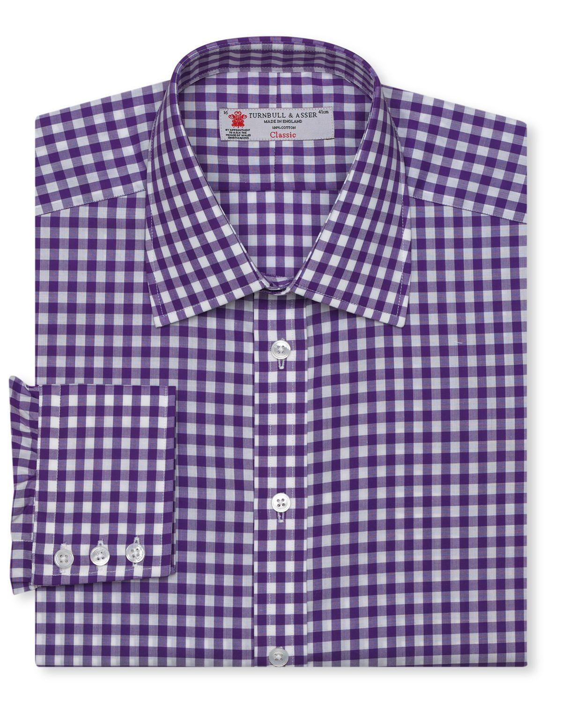 Turnbull Asser Gingham Dress Shirt Regular Fit In Purple