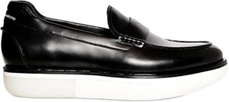 Y-3 Calf Leather Tube Loafers in Black (black/white)