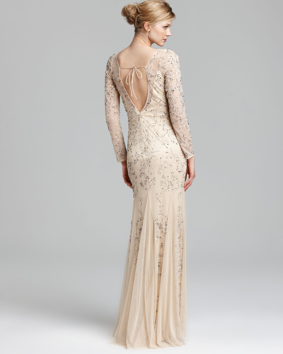 Fancy Adrianna Papell Dress Elbow Sleeve Sequined Beaded Gown Photo ...