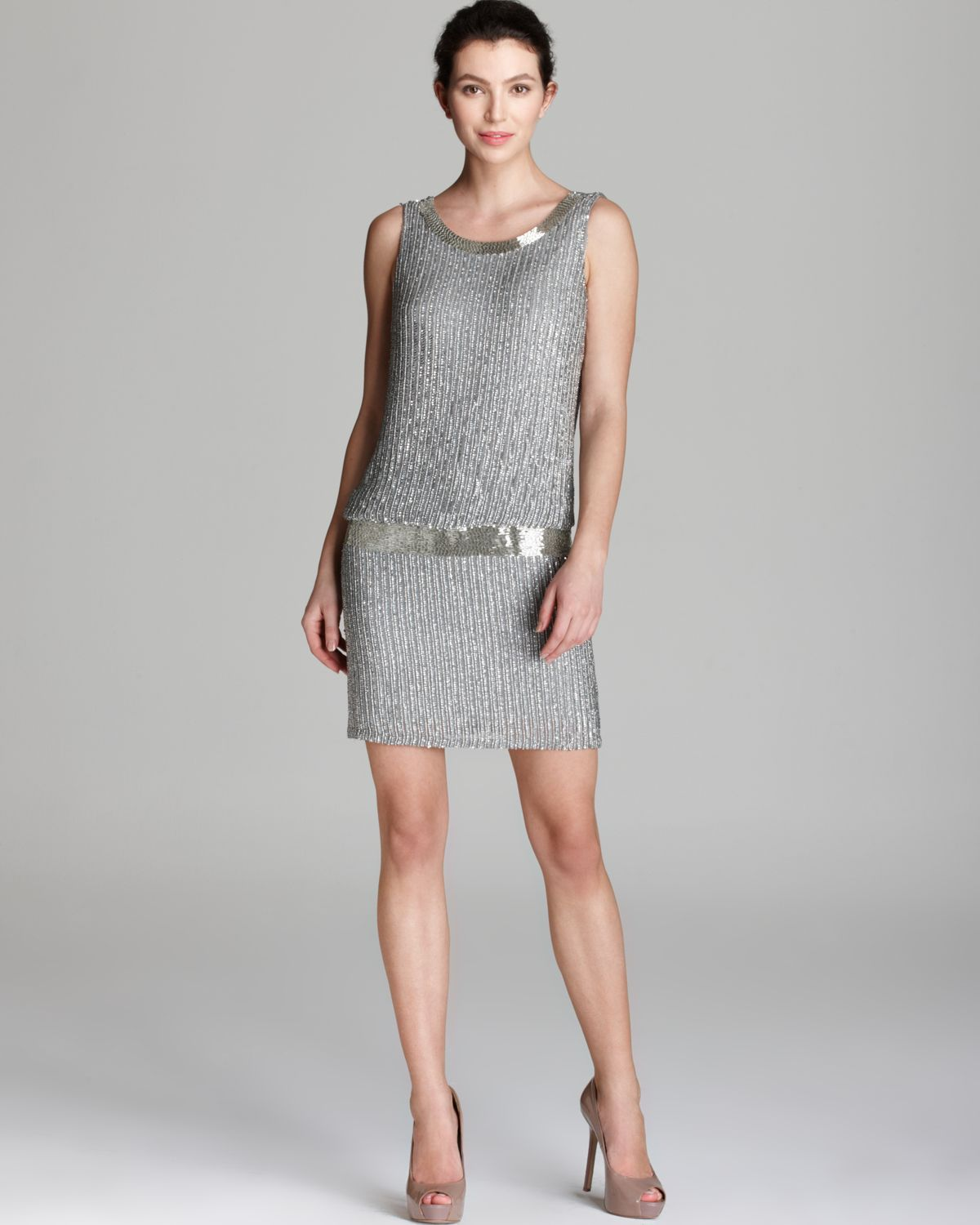 papell dress beaded blouson in gray grey lyst