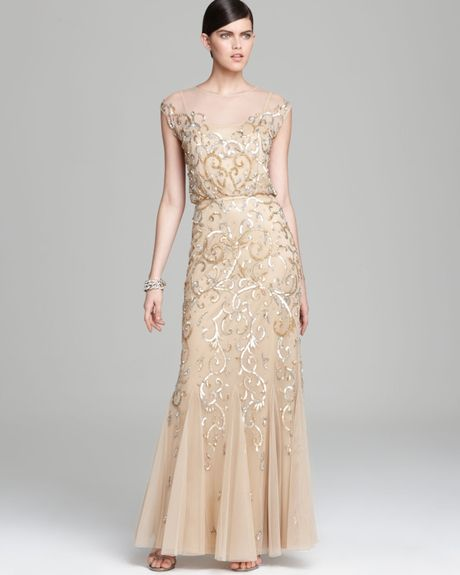 aidan mattox gown cap sleeve beaded blouson in gold gold