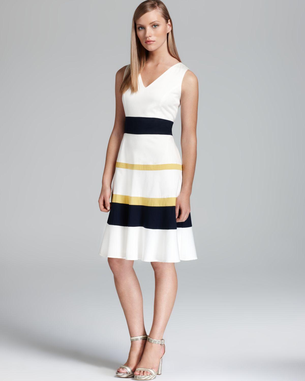 Anne Klein Swing Dress Sleeveless Color Block In Black Lyst
