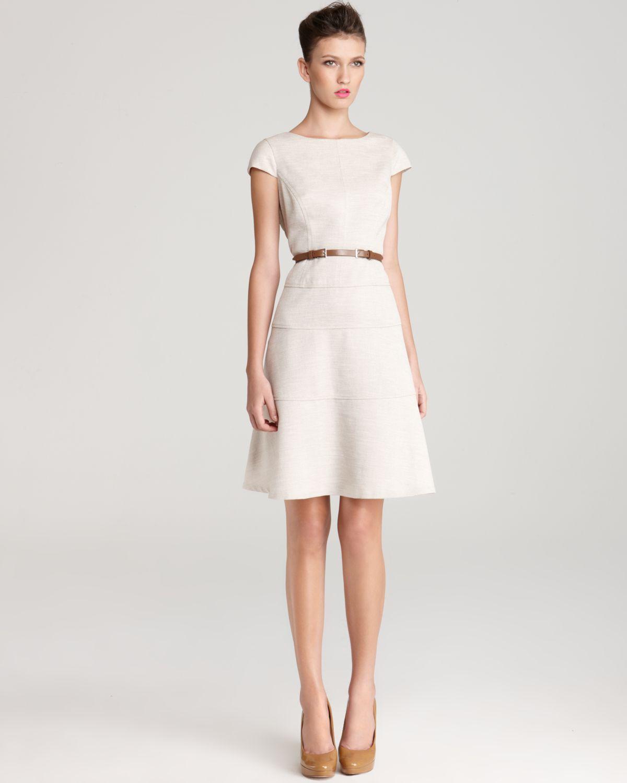 Lyst - Anne Klein Dress Cap Sleeve Belted Swing Dress in White