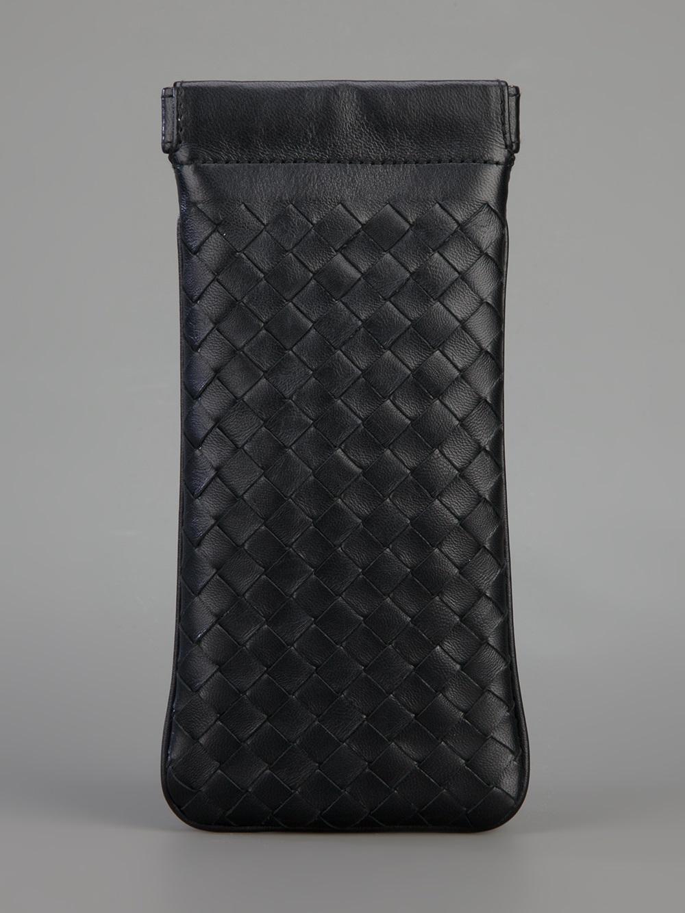 Lyst - Bottega Veneta Woven Leather Glasses Case in Black