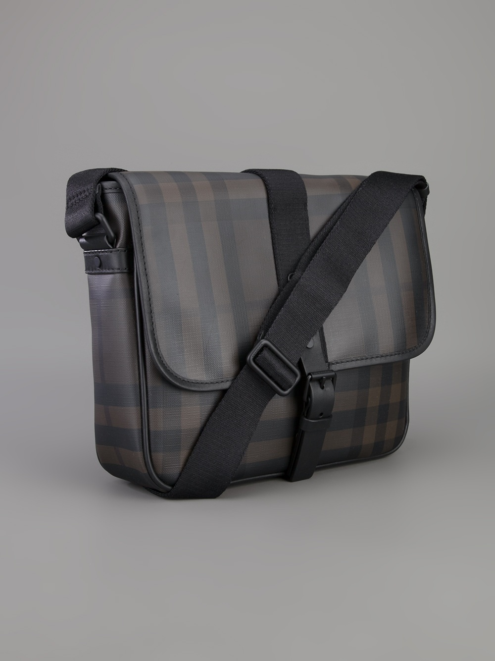 eed29c7c0402 Lyst - Burberry Checked Messenger Bag in Black for Men