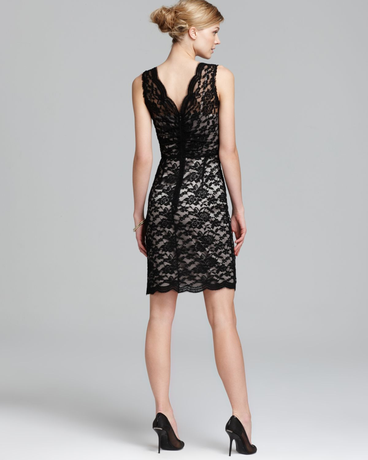 Calvin Klein Lace Dress With Front Ruching In Black Lyst