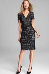 DKNY Short Sleeve V Neck Dress - Lyst