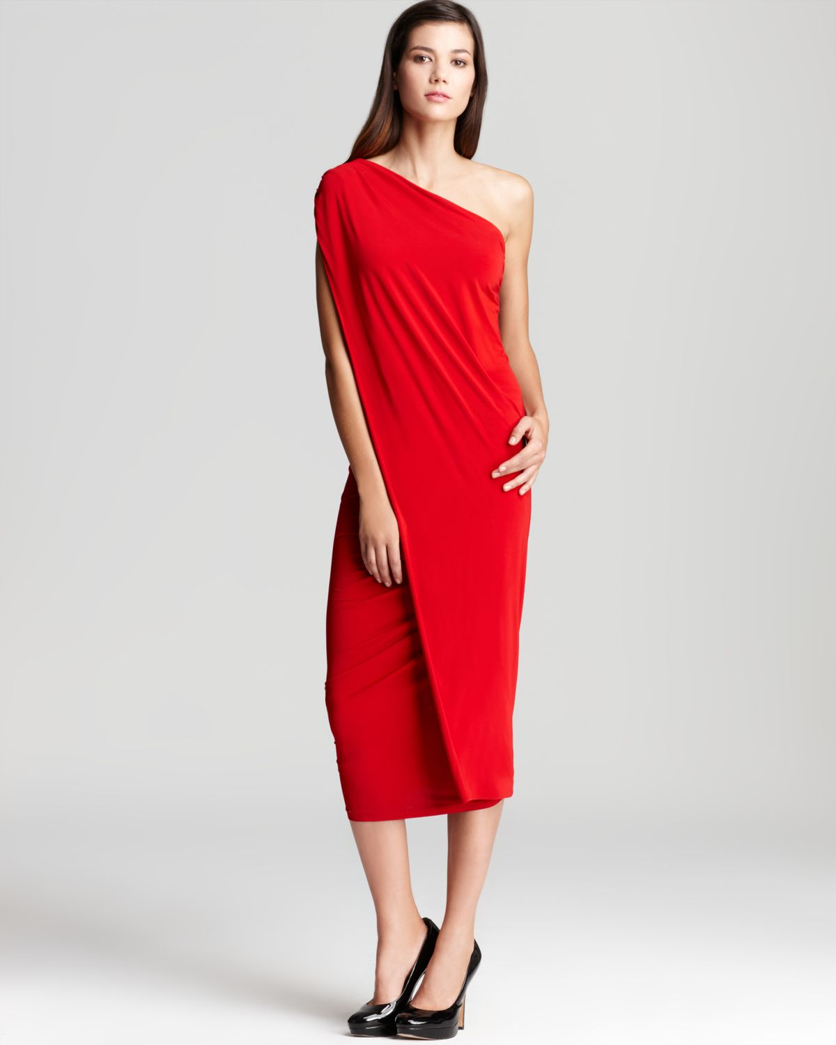 Donna karan One Shoulder Cocktail Dress in Red | Lyst