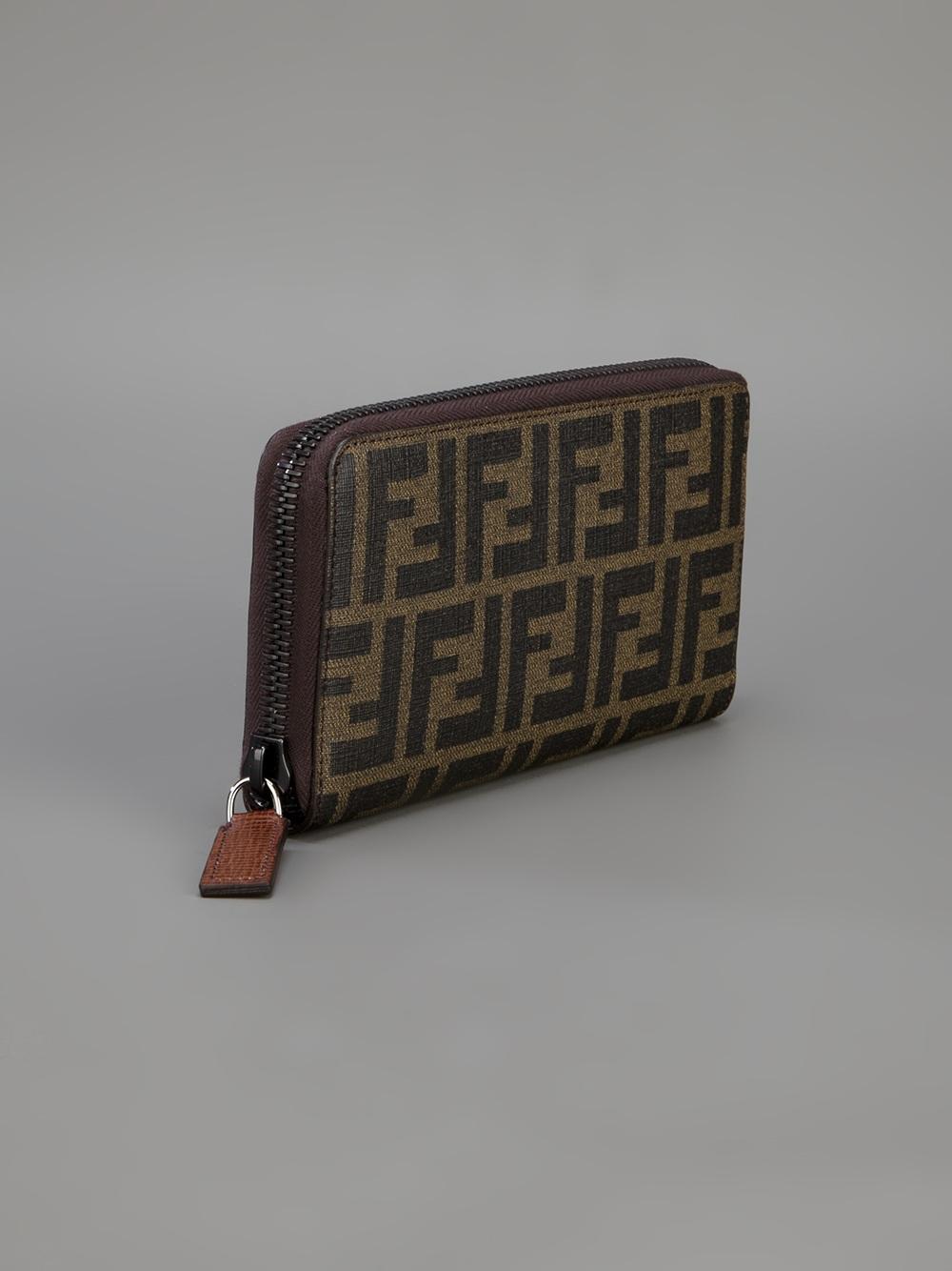 b7478af5029d Lyst - Fendi Zucca Zip Around Wallet in Brown