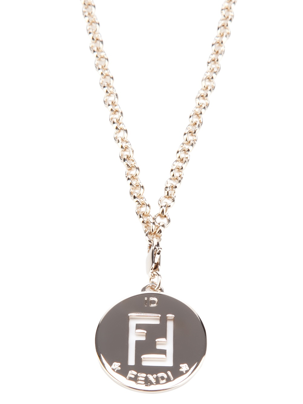fendi medallion necklace in silver metallic lyst