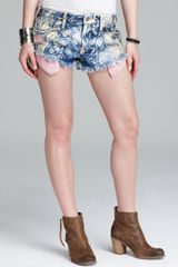 Free People Shorts Shibori Printed Rugged Cutoff in Blue - Lyst
