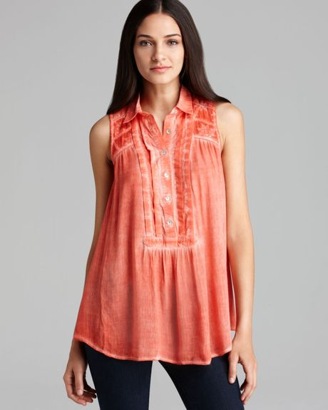 Free people tunic gauze button down in pink coral reef for Gauze button down shirt