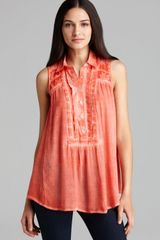 Free People Tunic Gauze Button Down - Lyst