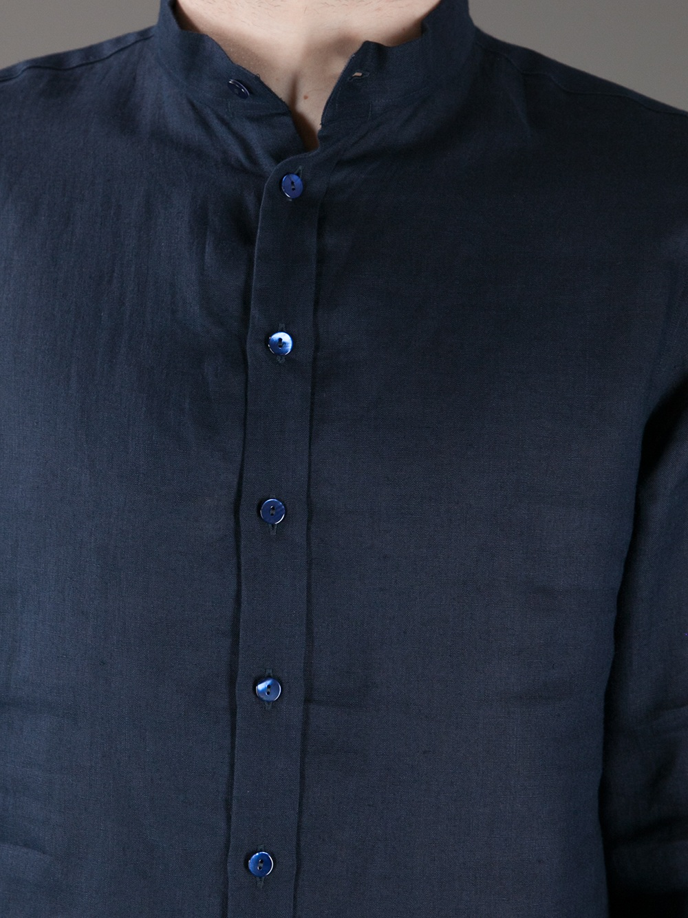 Collarless Linen Shirt Men