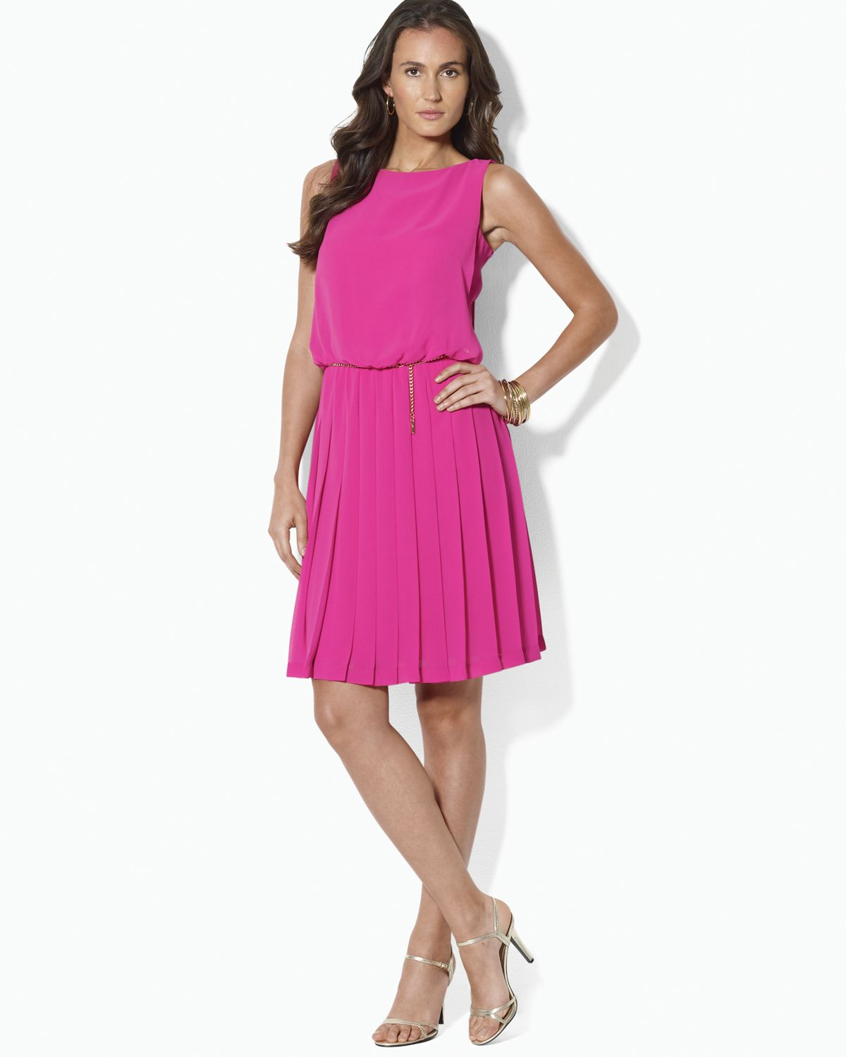 Ralph lauren Sleeveless Pleated Dress in Pink  Lyst