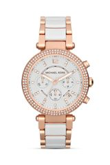 Michael Kors Parker Chronograph Glitz Watch in White Rose Gold 39mm - Lyst