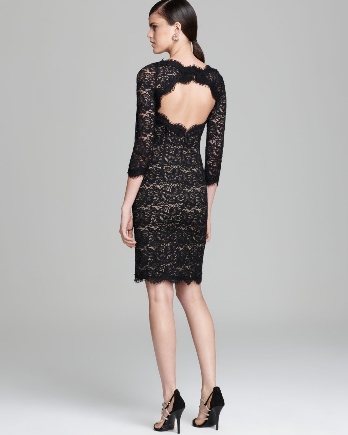 Lyst - Ml monique lhuillier Lace Dress Three Quarter Sleeve with ...