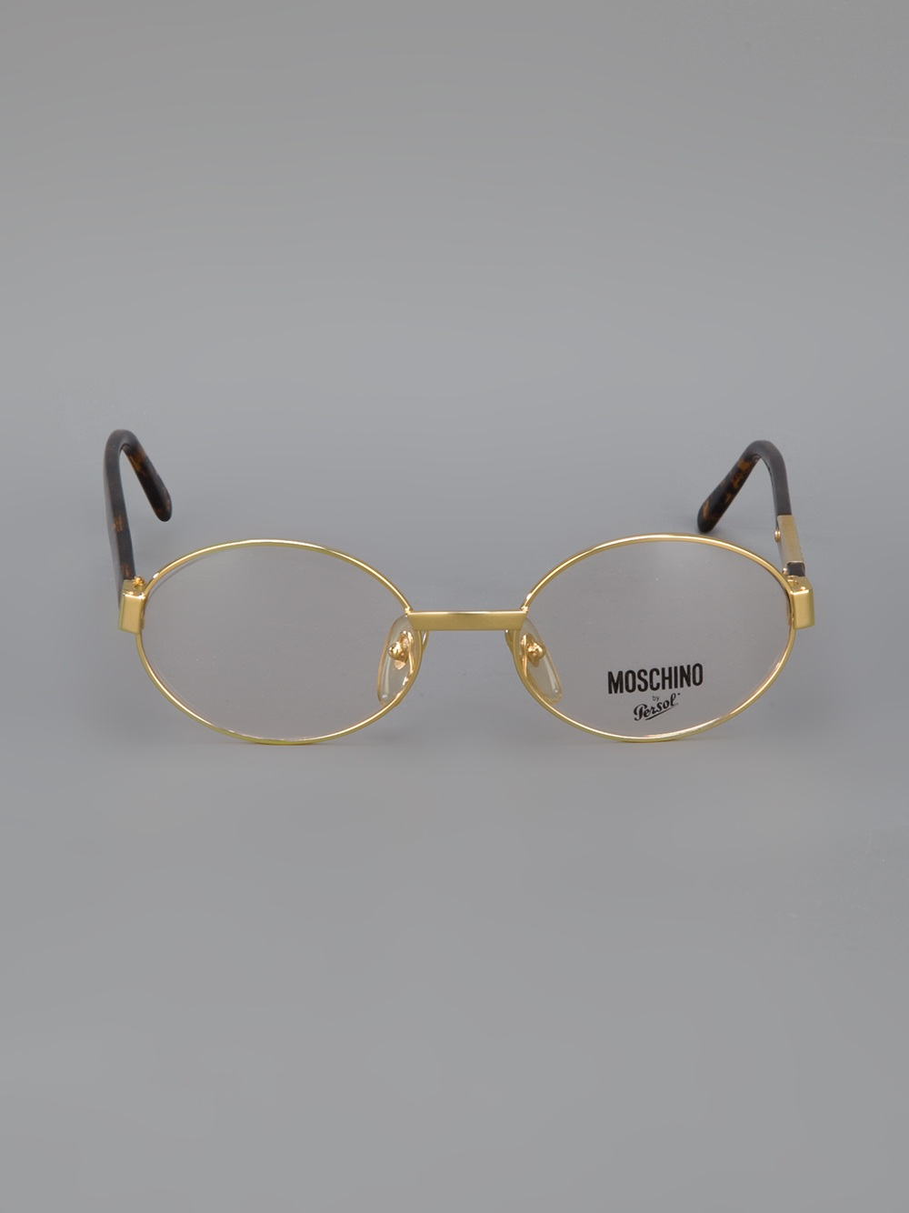 Vintage Gold Frame Glasses : Moschino Round Frame Glasses in Metallic Lyst