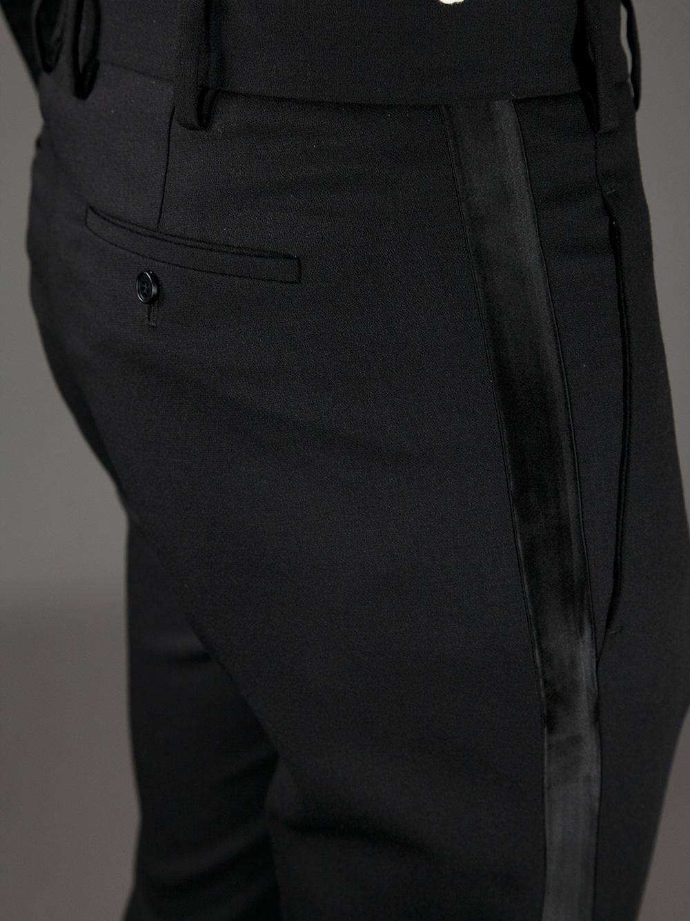 Neil barrett tuxedo stripe trouser in black for men lyst for Neil barrett tuxedo shirt