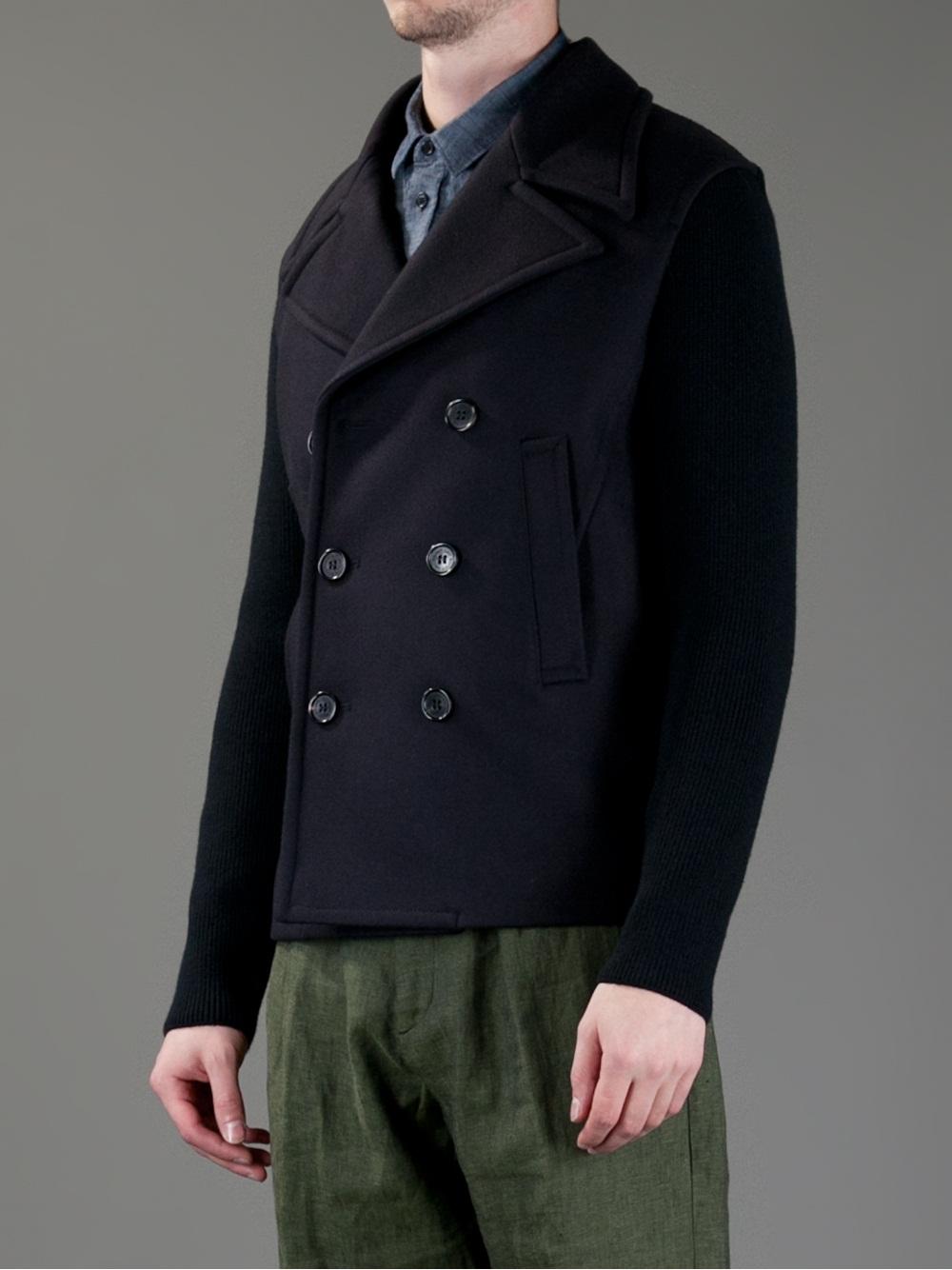 Lyst Neil Barrett Pea Coat In Blue For Men