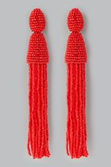Oscar de la Renta Beaded Long Tassel Earrings Cinnabar - Lyst