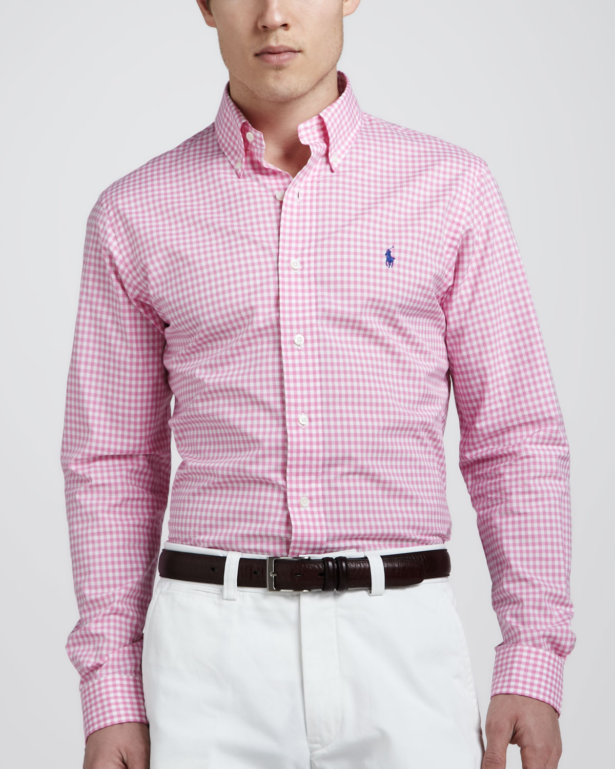 polo ralph lauren customfit gingham shirt pinkwhite in