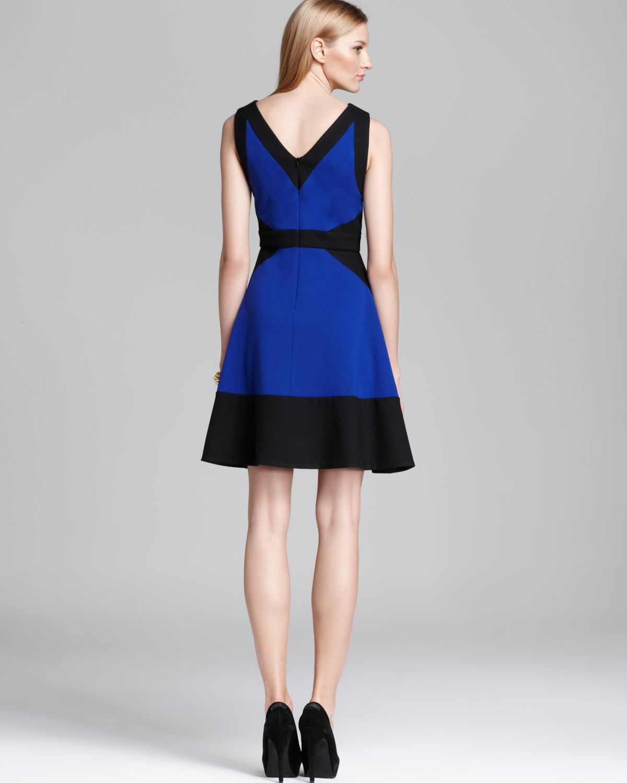Blue black color block dress