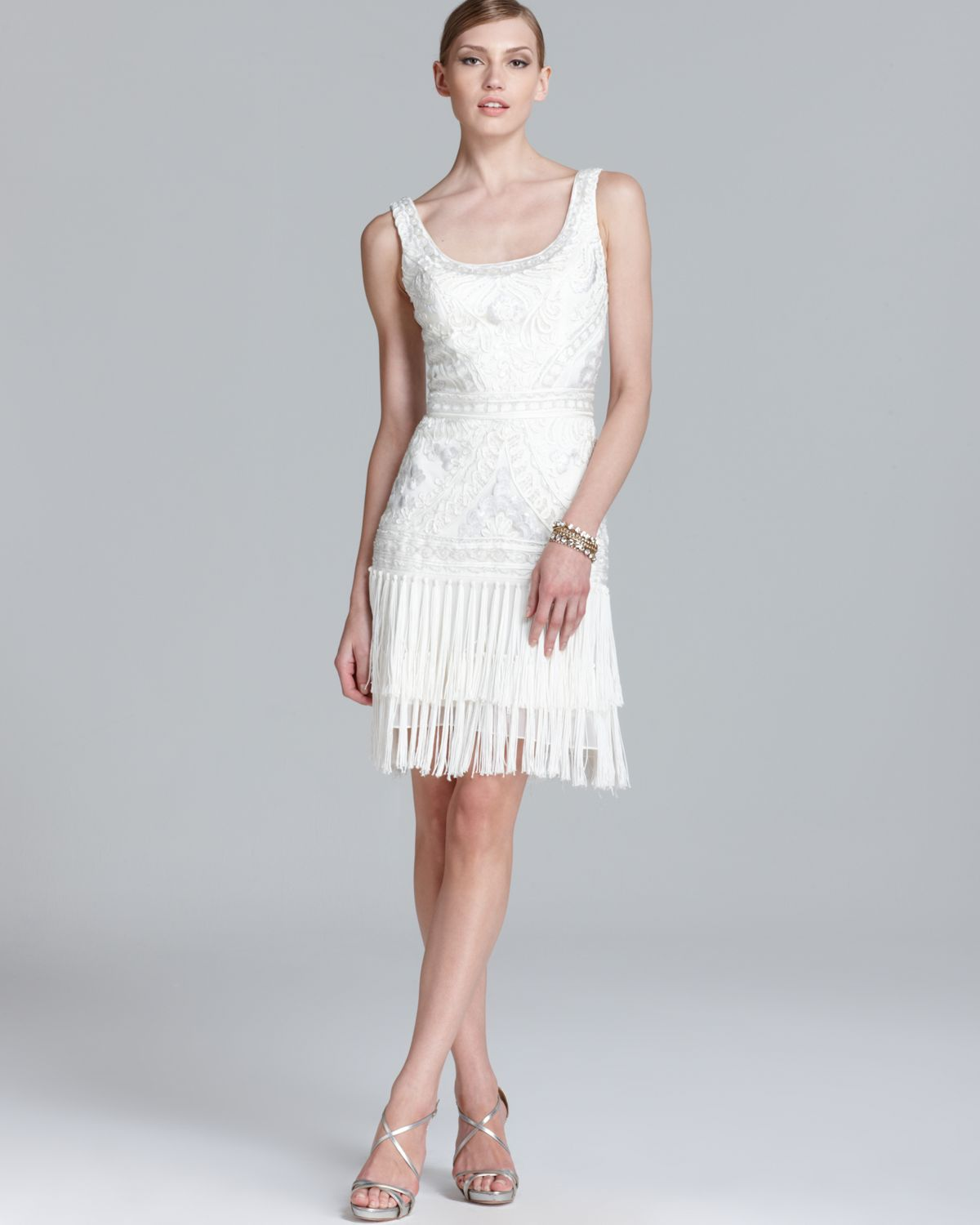 Lyst - Sue Wong Scoop Neck Beaded Dress Sleeveless in White