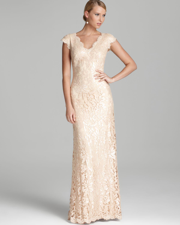 ba47e01f6f84a5 Tadashi Shoji Lace Gown Cap Sleeve V Neck Sequin in White - Lyst