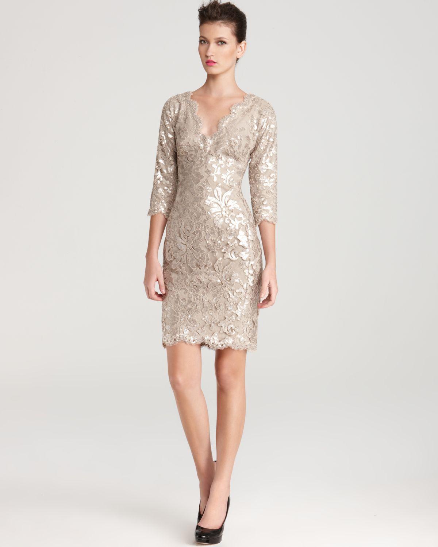 6fea7da0 Tadashi Shoji Lace Dress V Neck Sequin in Natural - Lyst
