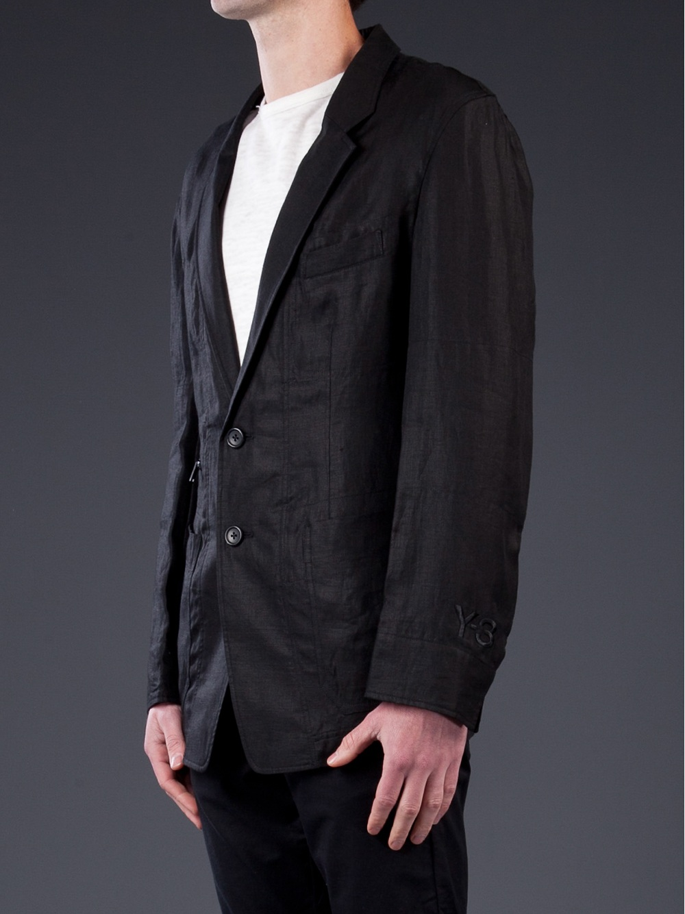 Y-3 Linen Blazer in Black for Men | Lyst