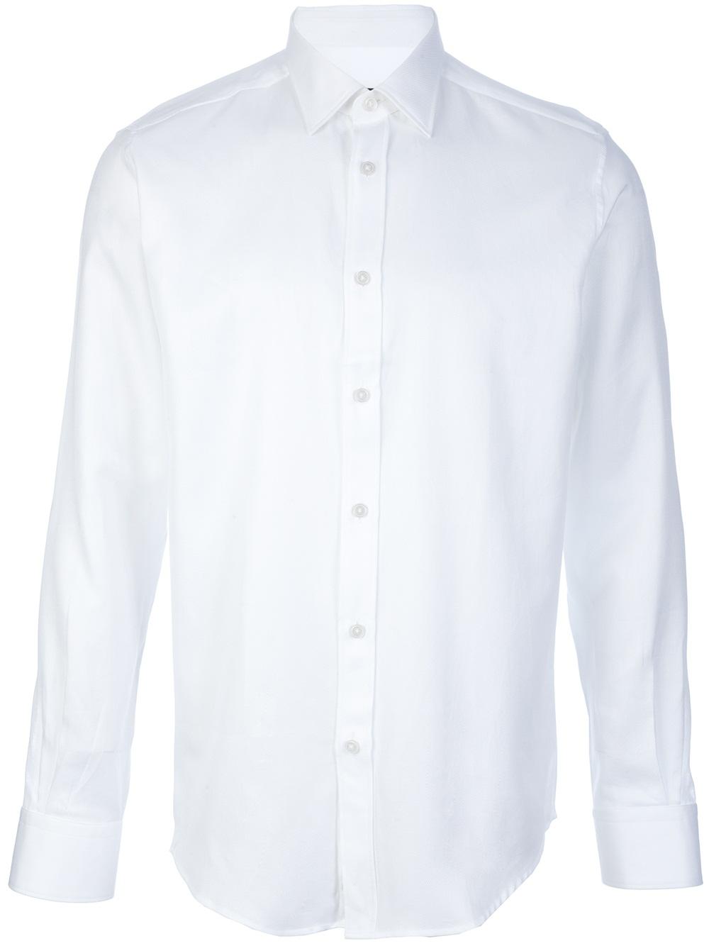 Z zegna Plain Button Down Shirt in White for Men | Lyst