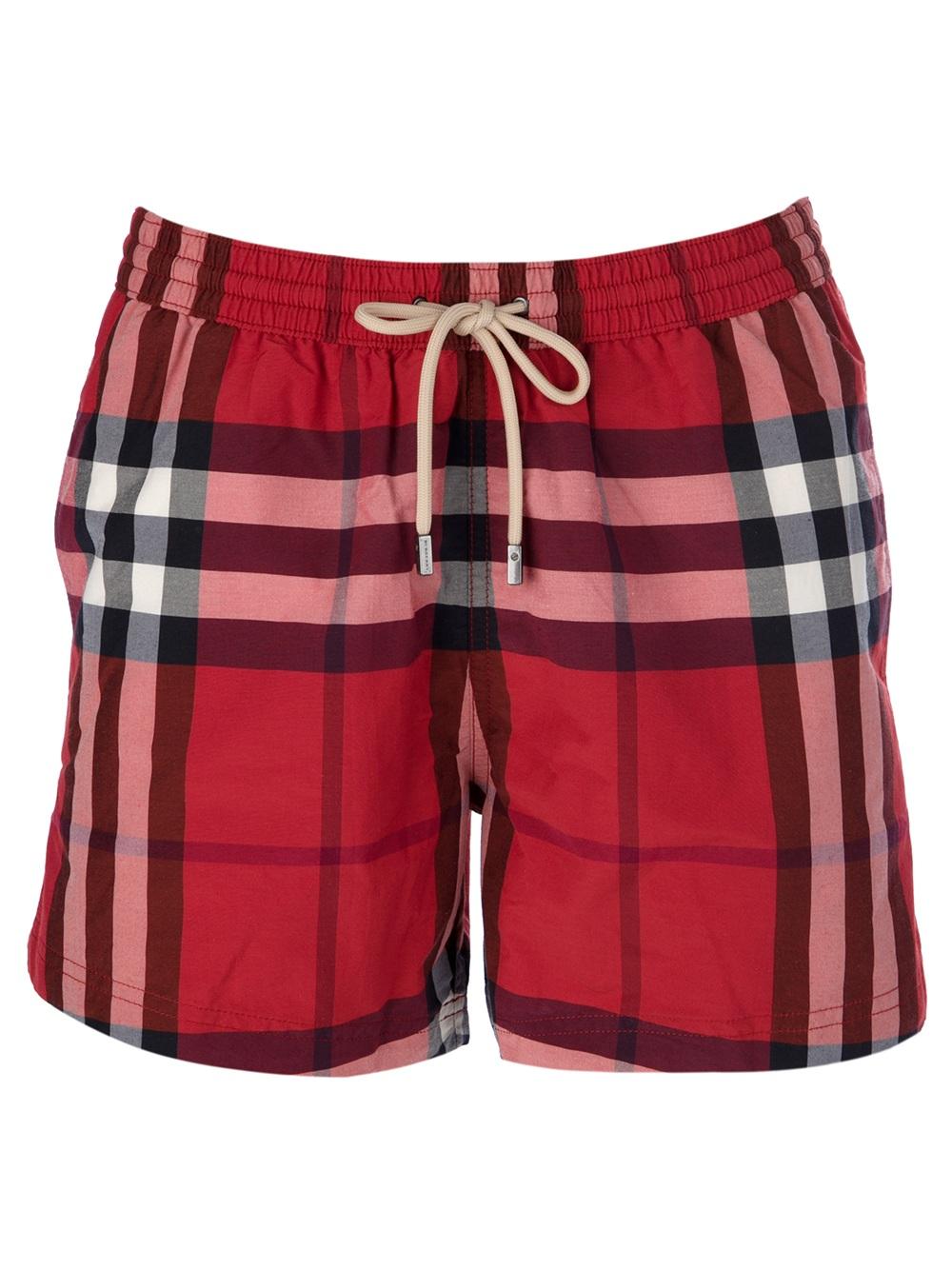 232f3135cf Burberry Brit Nova Check Swim Trunks in Red for Men - Lyst