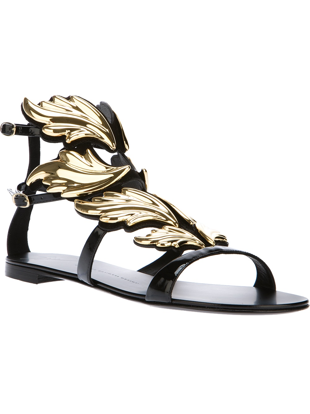 d946d0013f73 ... new zealand lyst giuseppe zanotti winged panel gladiator sandal in black  252ee ccd18