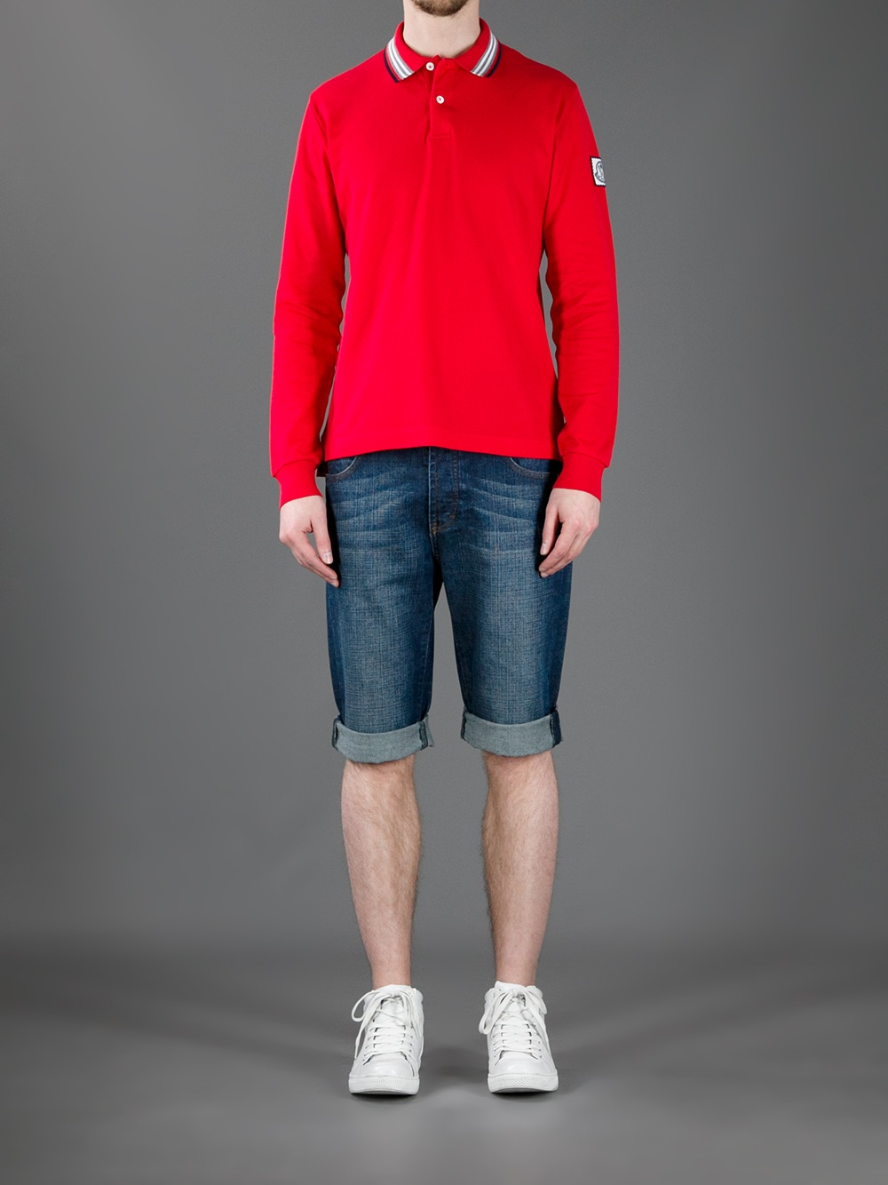 a5637615 Moncler Gamme Bleu Long Sleeve Polo Shirt in Red for Men - Lyst