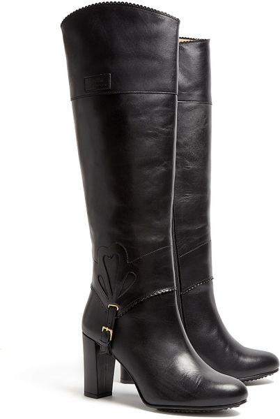 moschino cheap chic buckle detail knee high boots in