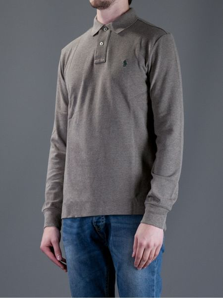 Polo Ralph Lauren Long Sleeve Polo Shirt In Gray For Men