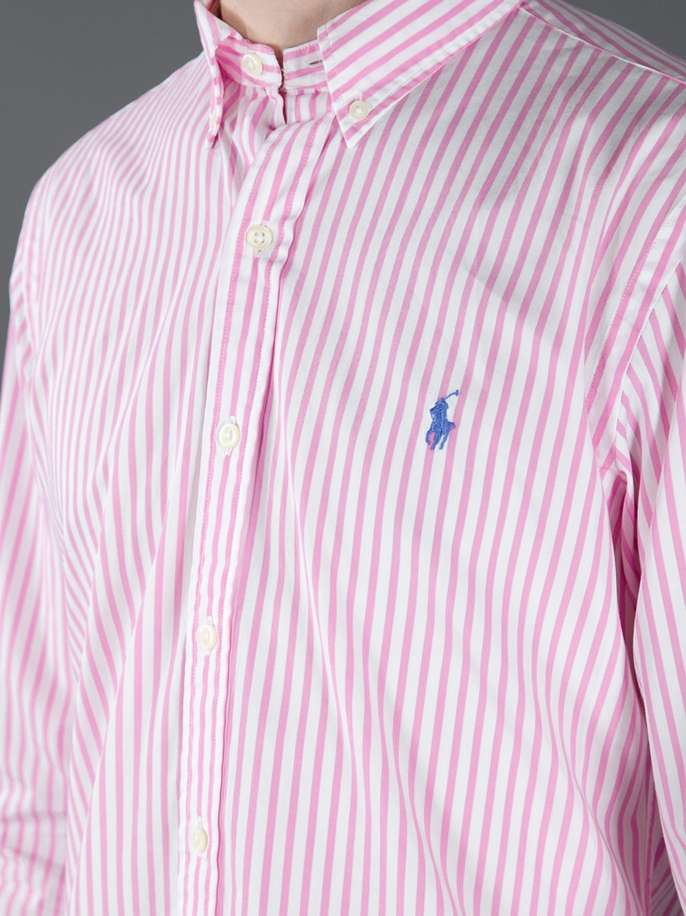 Polo ralph lauren striped shirt in pink for men lyst for Pink white striped shirt