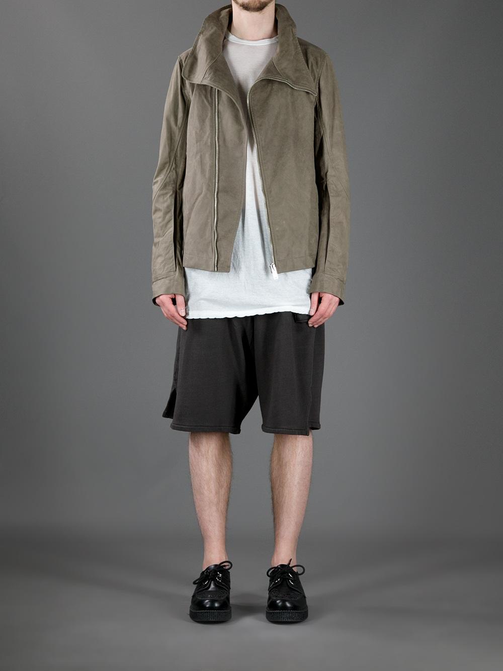 Funnel neck leather jacket