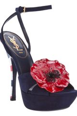 Saint Laurent Poppy Marine Sandal - Lyst