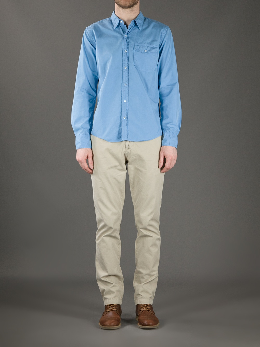 Lyst Save Khaki Button Down Shirt In Blue For Men