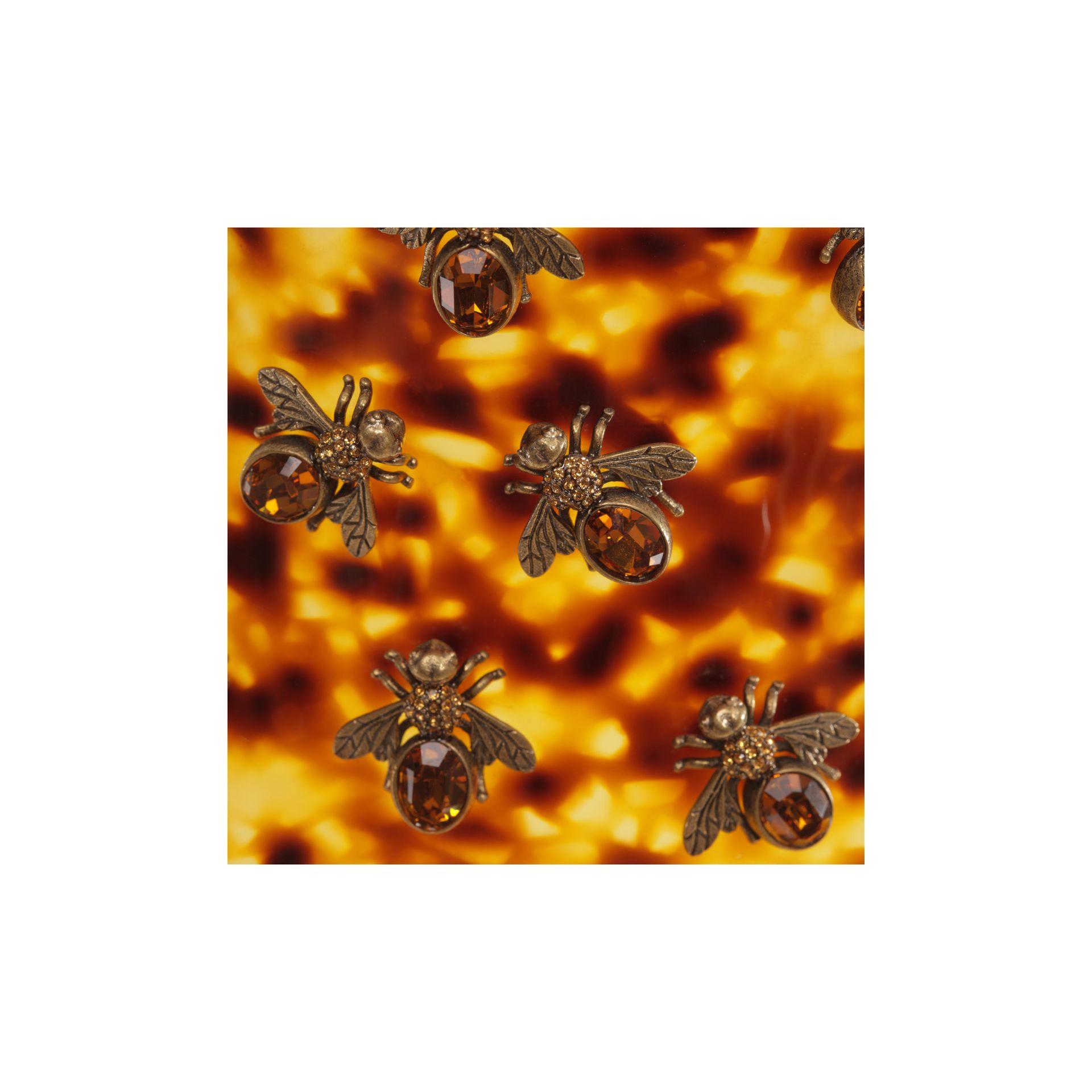 Alexander Mcqueen Plexi Tortoise Shell Bee Choker In Brown