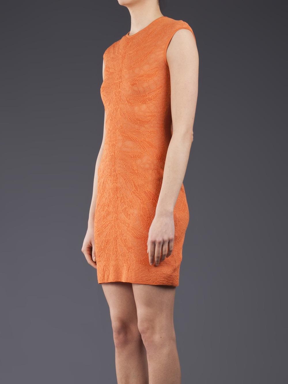 Lyst Alexander Mcqueen Lace Dragon Dress In Orange
