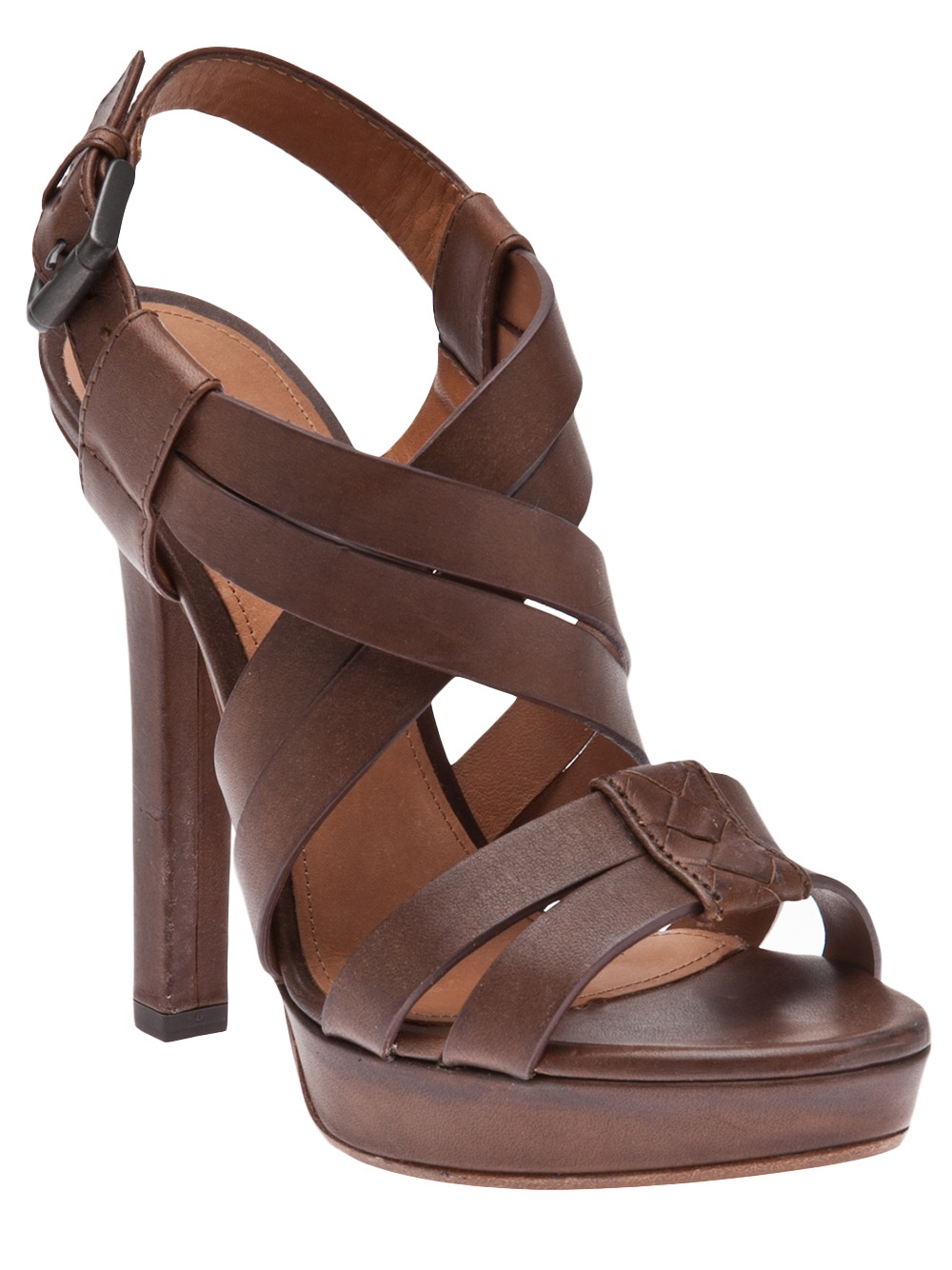 Lyst Bottega Veneta Strappy Sandal In Brown