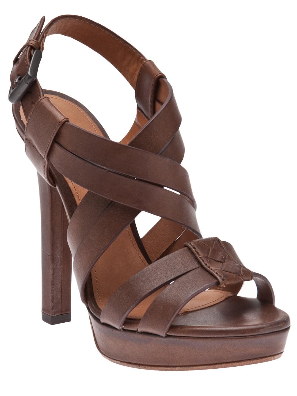 Bottega veneta Strappy Sandal in Brown | Lyst