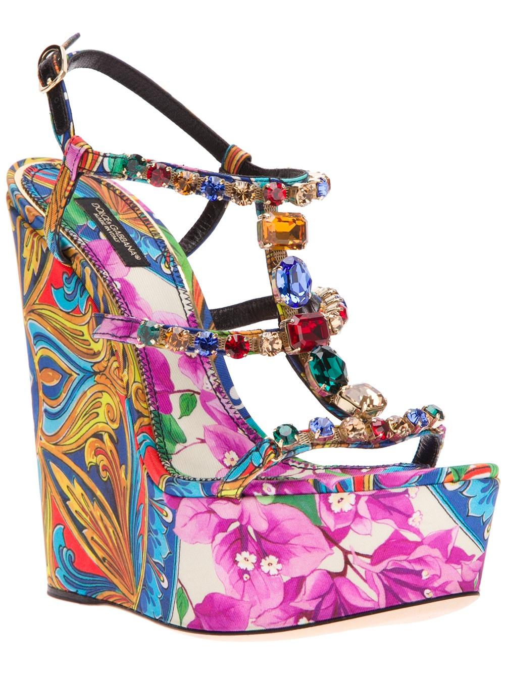 Dolce & Gabbana Embellished Wedge Sandals sale huge surprise deals online btaDRUp