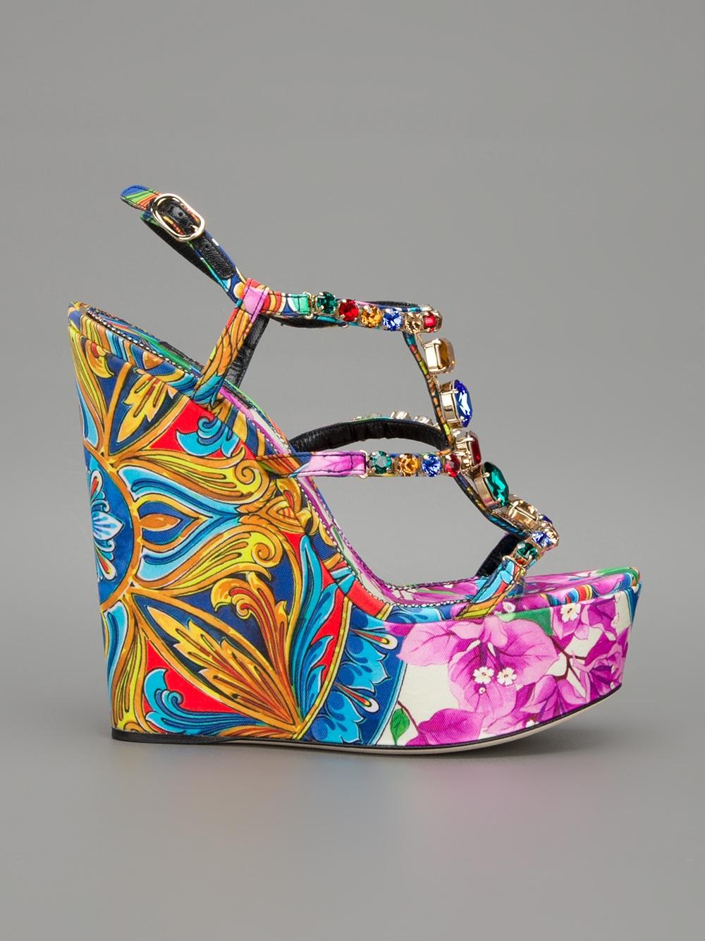 71ad187453231 Lyst - Dolce   Gabbana Printed Wedge Sandal